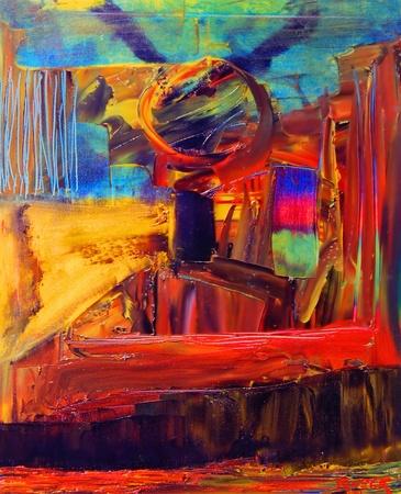 cuadros abstractos: Bonita imagen de una pintura original Resumen: Lienzo Foto de archivo