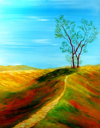 acrylics: Beautiful Original Oil painting of landscape on Canvas Stock Photo