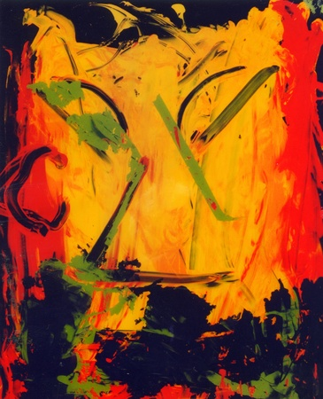 Image of an interesting Abstract painting On Glass In Verso photo