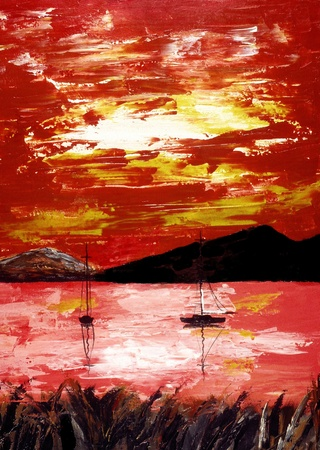 Nice abstract image of a boat in harbor oil On Canvas Imagens - 11089569