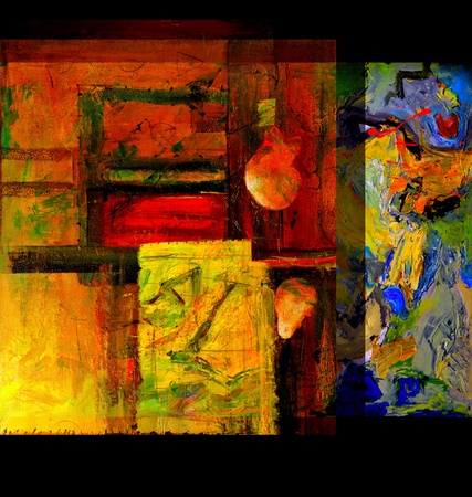 abstract paintings: Image of An Original  painting on Canvas, Mixed media