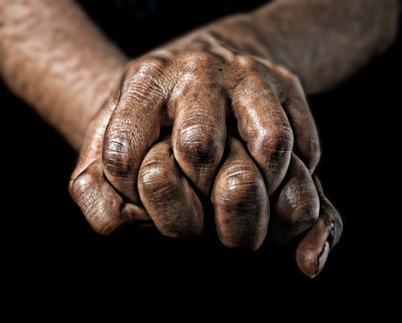 dirty hands: Image of a closeup Of a womans dirty hands