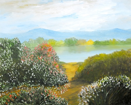 Beautiful Landscape original oil painting on canvas Stock Photo