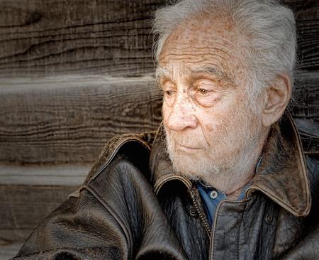 homeless people: Image of a sad and depressed senior man Stock Photo