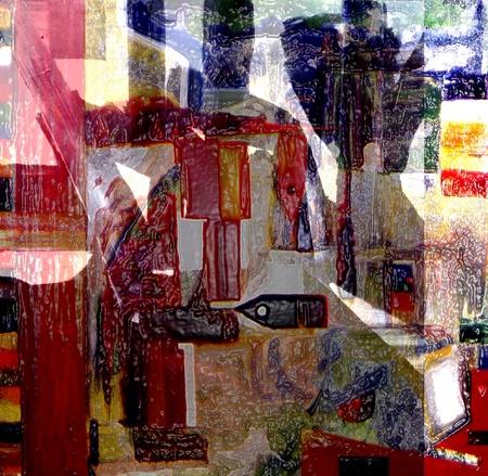 Mooi beeld van een zeer grote schaal Abstract Schilderen op doek
