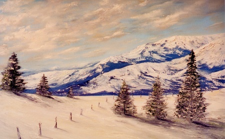 Beautiful Image of a Original Landscape Oil Painting on canvas photo