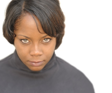 ojos marrones: Hermosa Imagen aislado de una mujer afro americana Foto de archivo