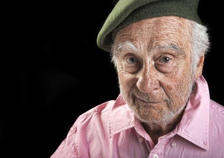 Nice Image of a senior man On Black Stock Photo
