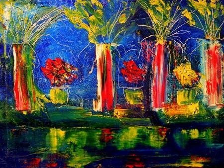 Mixed Media Original Oil Painting On Canvas Stockfoto