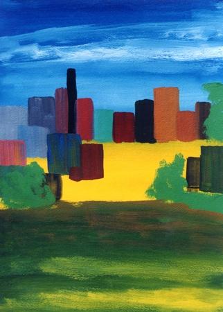 Belle peinture originale huile abstraite d'un paysage urbain