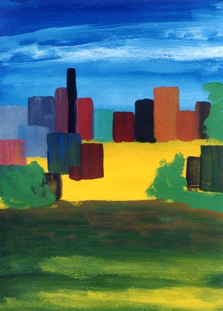Nice original Abstract oil painting of a cityscape