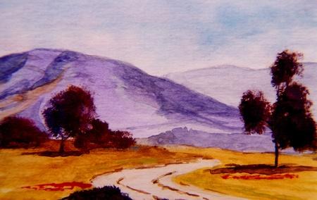 Mooie originele Landschap schilderij van een land scène
