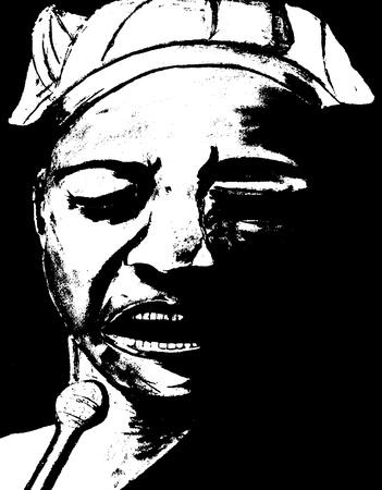 jazz singer: Beautiful Original Charcoal Drawing Of a Jazz singer