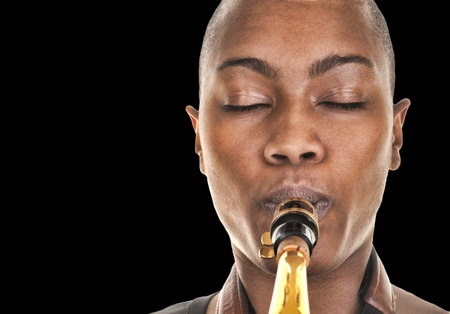 Nice Image of a afro american woman with saxophone photo