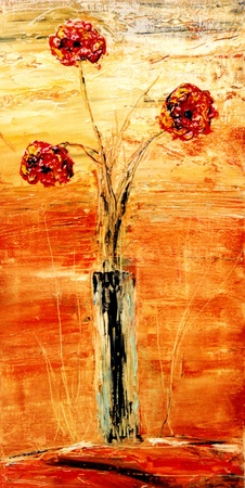 Nice vertical Abstract Original Flower painting On Canvas