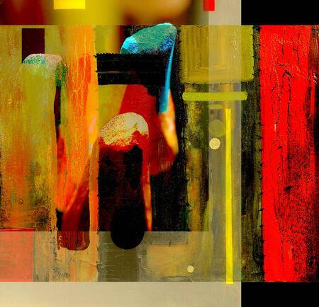 abstrakte malerei: Sehr interessante abstrakte Malerei auf Glas in verso