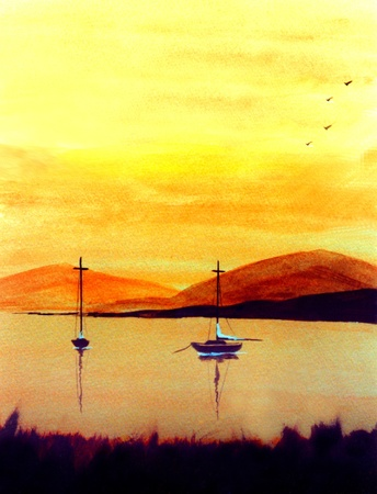 Nice Simple watercolor original painting on Paper Banco de Imagens