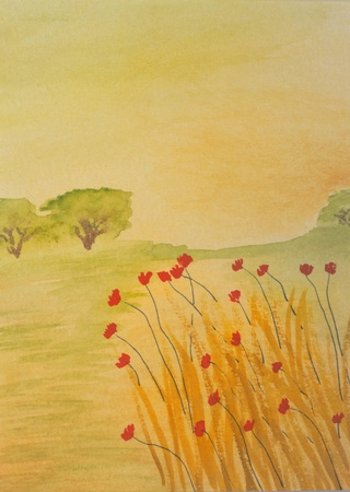 very Nice Watercolor painting On paper surface photo