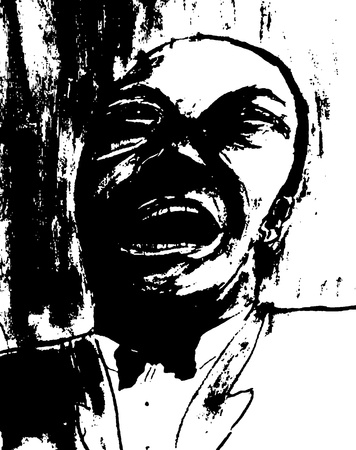 Nice original Ink On Paper drawing Of Jazz Singer Stok Fotoğraf