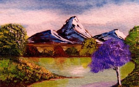 Mooie afbeelding van een aquarel originele schilderij op papier Stockfoto