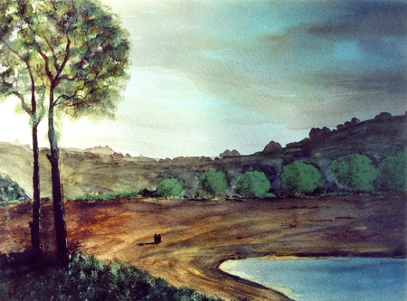Nice Simple Watercolor Painting on paper,Australia photo