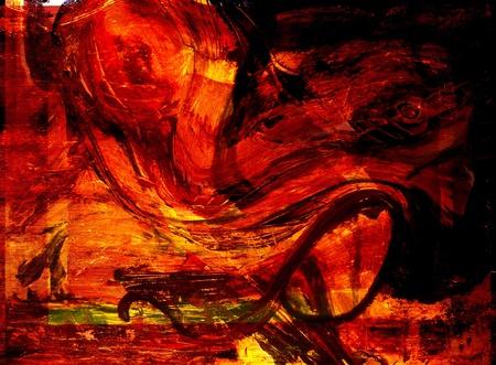 pinturas abstractas: Imagen de una pintura abstracta grande escala en lienzo Foto de archivo