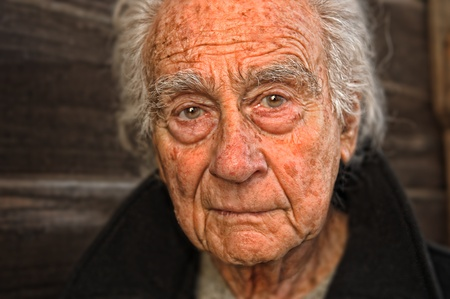 old people in care: Very nice emotional portrait of a elderly man