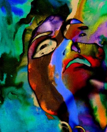 cuadro abstracto: Bonita imagen de una pintura abstracta de gran escala en acuarela