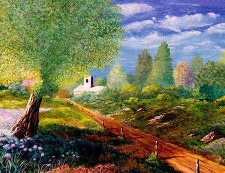 A gran escala hermosa pintura al óleo sobre lienzo original Foto de archivo - 11280717