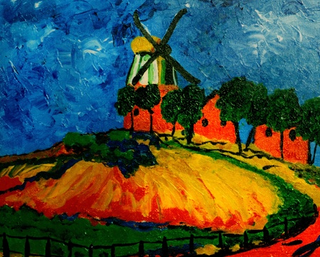 oil painting: Beautiful Image of a original Oil Painting on canvas Stock Photo