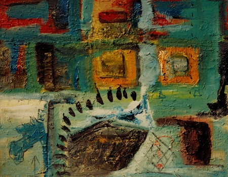artist painting: Image of a original Abstract oil  and sand painting On Canvas