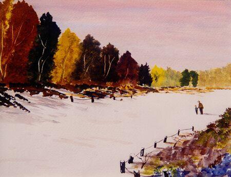Schöne Original-Aquarell-Malerei von Vater und Sohn im Schnee Standard-Bild - 11280747