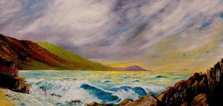 Mooie origineel olieverfschilderij van de maui Coastline Stockfoto