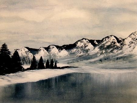 Beautiful Image of a Original Landscape Oil On Canvas 写真素材