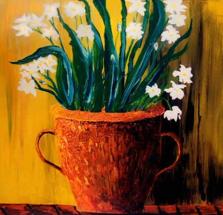 Beautiful original painting of white flowers in a copper vase photo