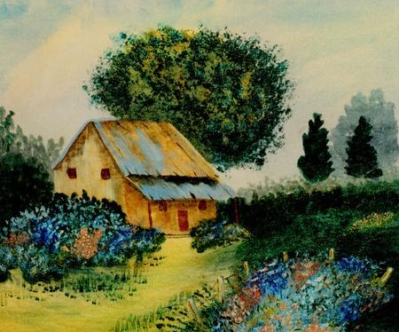 Mooi Beeld van een oorspronkelijke landschap Olie op Canvas