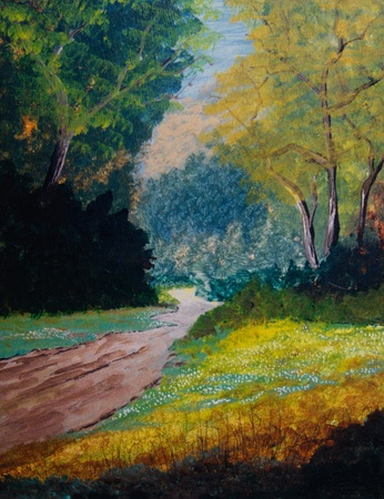 street painting: Nice original Oil Painting On canvas of a forest Stock Photo