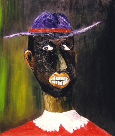 figurative: An Interesting Figurative original oil on canvas