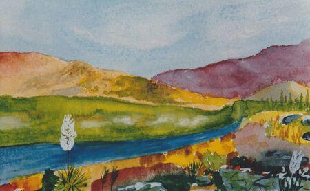 Very Nice original watercolor painting on paper 写真素材