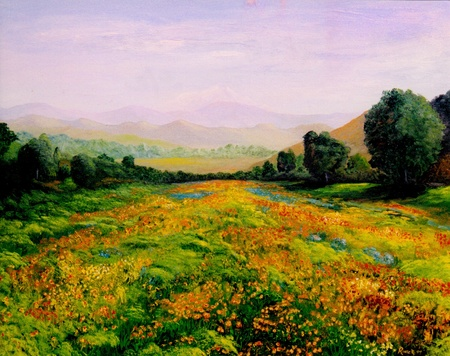 Very Nice Image of an original landscape oil On Canvas Stock Photo