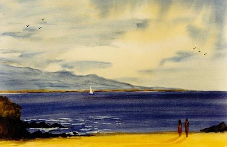 Nice Original Watercolor painting On Paper Background 写真素材