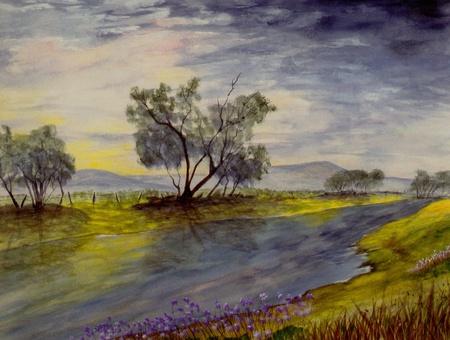and painting: Niza gran escala de la pintura original de la acuarela en papel