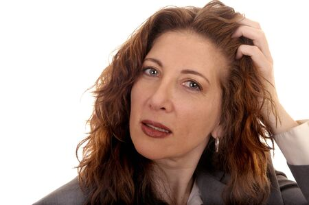 frazzled: Portrait Image of a frazzled business woman