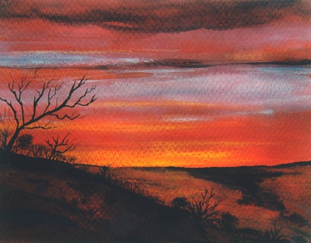 Nice Landscape Original watercolor Painting on paper photo