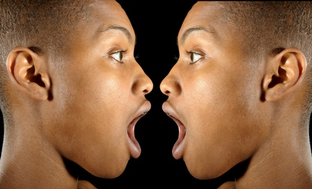 Nice sideview image of two afro american women in profile Stock Photo - 12229735