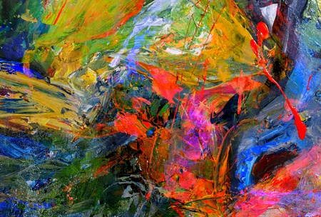 Very nice Image of a large scale Abstract Oil Painting Stock Photo