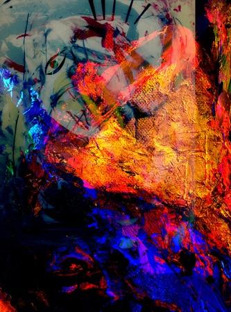Mooie grote schaal Beeld van een abstracte Olieverf op doek en glas