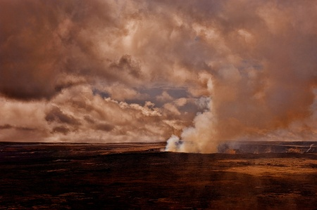 Very Dramatic Image of the kilauea Volcano on the big Island of Hawaii photo