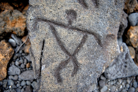 Amazing 1700 year old Ancient Hawaiian petroglyphs done in lava from The big Island Banque d'images
