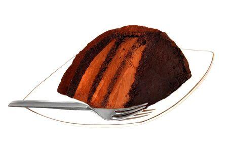 Nice image Of a Slice of chocolate cake isolated on white photo
